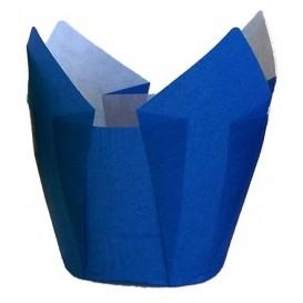 Cupcake vorm voering tulpvorm blauw Ø5x4,2/7,2cm (2160 stuks)