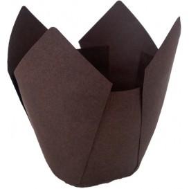 Cupcake vorm voering tulpvorm bruin Ø5x5/8cm (125 stuks)