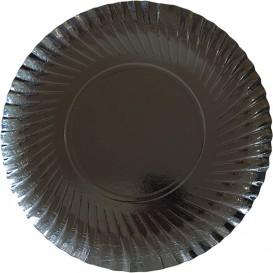 Papieren bord Rond vormig zwart 25cm (500 stuks)
