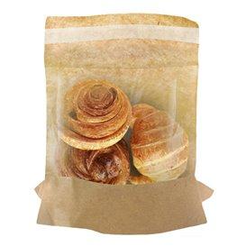 Papieren voedsel zak kraft zelfsluitend 14x16cm (100 stuks)