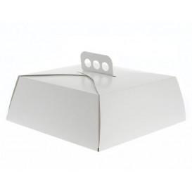 Papieren cake doosje Vierkant wit 32,5x32,5x10cm (100 stuks)