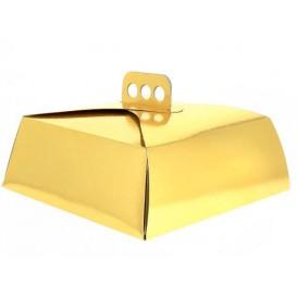 Papieren cake doosje Vierkant goud 32,5x32,5x10cm (50 stuks)