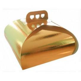 Caja Pasteleria Carton Oro Lazo 275x275x140mm (50 Uds)