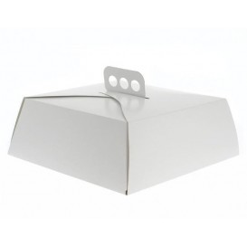 Papieren cake doosje Vierkant wit 34,5x34,5x10cm (100 stuks)