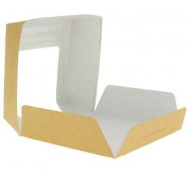Papieren cake doosje met venster kraft 12x12x4cm (25 stuks)