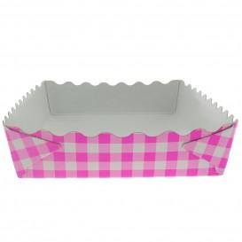 Papieren dienblad voor een wafel gesloten roze 18,2x12,2x3cm (500 stuks)
