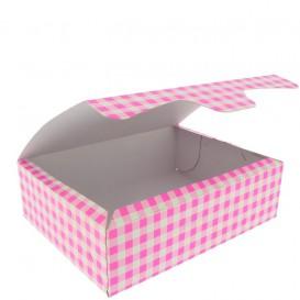 Caja Pasteleria Carton 18,2x13,6x5,2cm 500g Rosa (250 Uds)