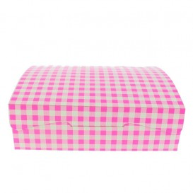 Papier bakkerij doos roze 18,2x13,6x5,2cm 500g (250 stuks)
