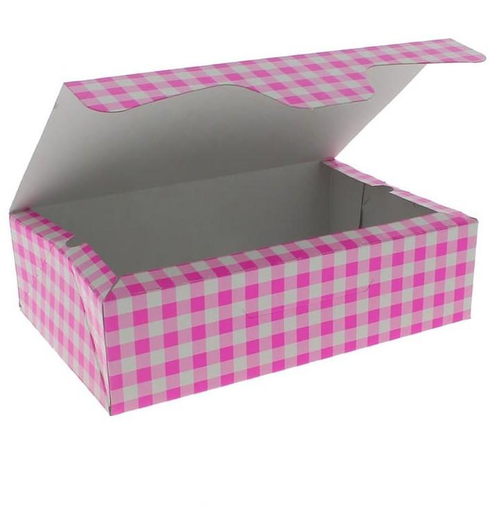 Papier bakkerij doos roze 17,5x11,5x4,7cm 250g (360 stuks)