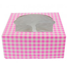 Papieren Cake vorm zak 4 Slot roze 17,3x16,5x7,5cm (20 stuks)