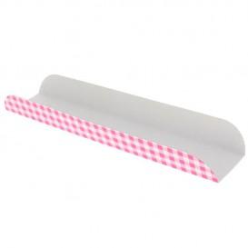 Papieren dienblad voor een wafel Opening roze 30x6,1x3,2cm (1000 stuks)