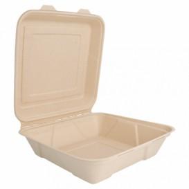 """Suikerriet Gescharnierd Container """"Menu Box"""" 22,5x22,5x7,5cm (50 stuks)"""
