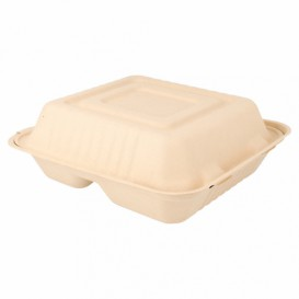 """Suikerriet Gescharnierd Container """"Menu Box"""" 3 Compartmenten Naturel 20x20x7,5cm (200 stuks)"""