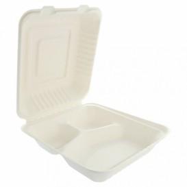 """Suikerriet Gescharnierd Container """"Menu Box"""" 3 Compartmenten wit 20x20x7,5cm (50 stuks)"""