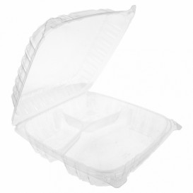 "Plastic scharnierende Deli-Container OPS 3 Compartmenten ""transparant Seal"" 4070ml (100 stuks)"