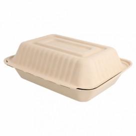 """Suikerriet Gescharnierd Container """"Menu Box"""" Naturel 22,5x16,5x6,4cm (50 stuks)"""