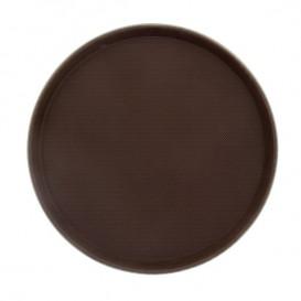 Plastic dienblad Rond vormig anti-slip bruin Ø35,5cm (1 stuk)