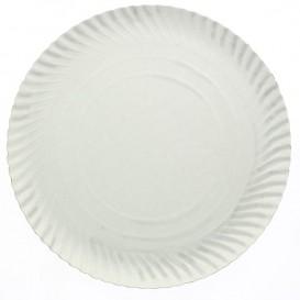 Papieren bord Rond vormig wit 44cm (25 stuks)