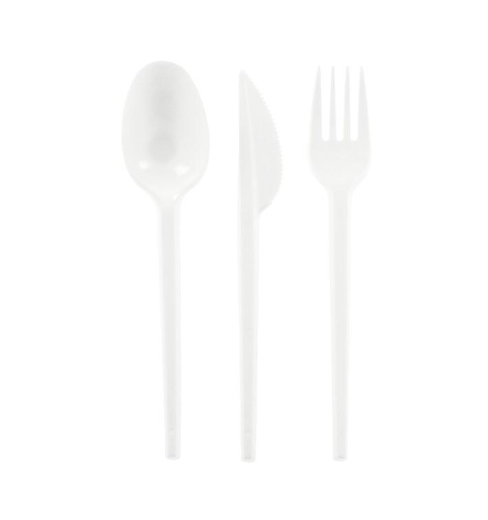 Plastic PS bestekset vork, mes en lepel (25 stuks)
