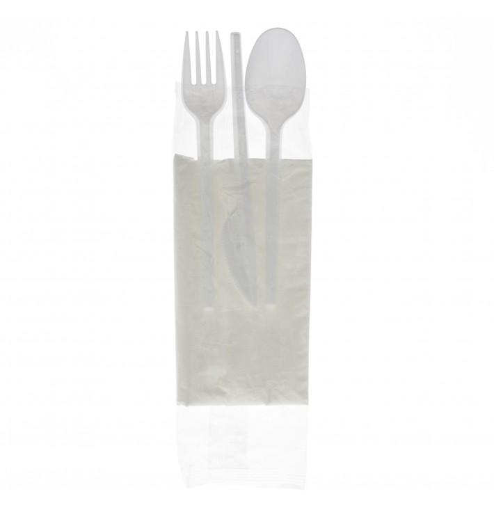 Plastic PS bestekset vork, lepel, mes en servet (25 stuks)