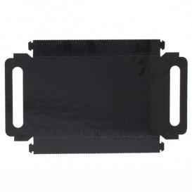Papieren dienblad met handgrepen Rechthoekige vorm zwart 12x19 cm (100 stuks)