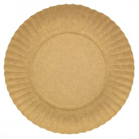 Papieren bord Rond vormig kraft 21cm 255g/m2 (100 stuks)