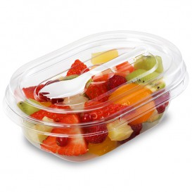 Plastic saladekom APET vormig met vork 500ml 19x14x7,6cm (400 stuks)