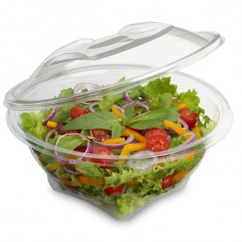 Plastic saladekom APET Rond vormig transparant 600ml Ø17,5cm (46 stuks)