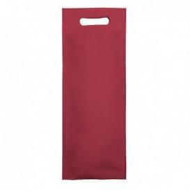 Niet geweven tas met gestanste handgrepen bordeauxrood 17+10x40cm (25 stuks)