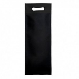 Niet geweven tas met gestanste handgrepen zwart 17+10x40cm (25 stuks)