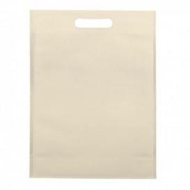 Niet geweven tas met gestanste handgrepen crème 30+10x40cm (25 stuks)