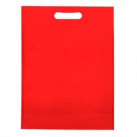 Niet geweven tas met gestanste handgrepen rood 30+10x40cm (200 stuks)