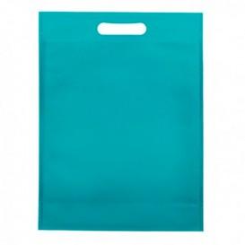 Niet geweven tas met gestanste handgrepen aquamarijn 30+10x40cm (200 stuks)