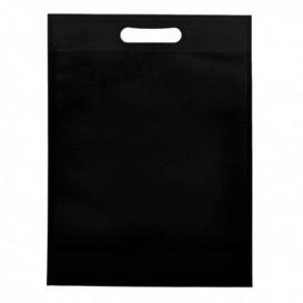 Niet geweven tas met gestanste handgrepen zwart 30+10x40cm (25 stuks)