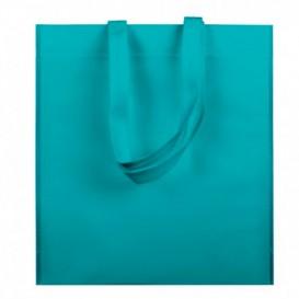 Niet geweven tas met korte hengsels aquamarijn 38x42cm (25 stuks)