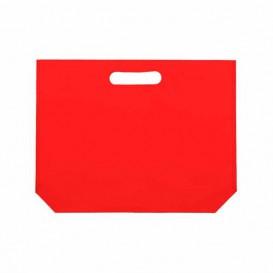 Niet geweven tas met gestanste handgrepen rood 34+8x26cm (200 stuks)