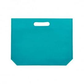 Niet geweven tas met gestanste handgrepen aquamarijn 34+8x26cm (25 stuks)