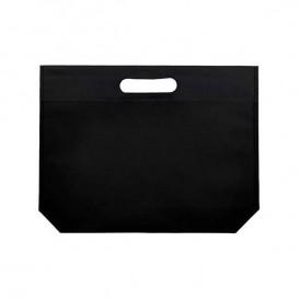 Niet geweven tas met gestanste handgrepen zwart 34+8x26cm (25 stuks)