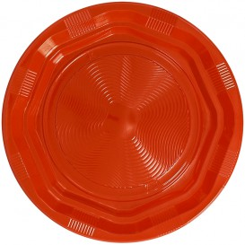 Plastic bord Diep Achthoekig Rond vormig oranje Ø22 cm (25 stuks)