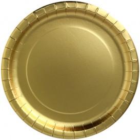 """Papieren bord Rond vormig """"Party Shinen"""" goud Ø34cm (3 stuks)"""