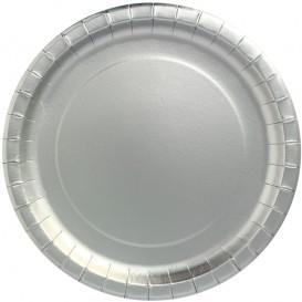 "Papieren bord Rond vormig ""Party"" zilver Ø34cm (3 stuks)"