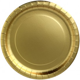 """Papieren bord Rond vormig """"Party Shinen"""" goud Ø23cm (10 stuks)"""