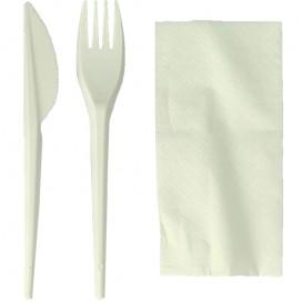 Stof gebaseerd op Maizena PLA bestekset : vork + mes + servet PLA (300 stuks)