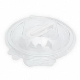 Plastic saladekom APET Rond vormig met lepel 500ml Ø15,6cm (60 stuks)