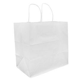 Papieren zak met handgrepen kraft wit 80g 30+18x29cm (25 stuks)