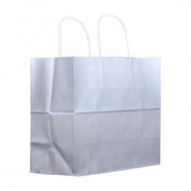 Papieren zak met handgrepen kraft wit 100g 27+14x26cm (200 stuks)
