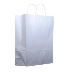 Papieren zak met handgrepen kraft wit 100g 25+11x31cm (200 stuks)