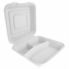 """Suikerriet Gescharnierd Container """"Menu Box"""" wit 3C 24x23x7,6cm (200 stuks)"""