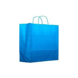 Papieren zak met handgrepen turkoois 80g 22+9x23cm (200 stuks)