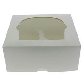Papieren Cake vorm zak 4 Slot wit 17,3x16,5x7,5cm (20 stuks)